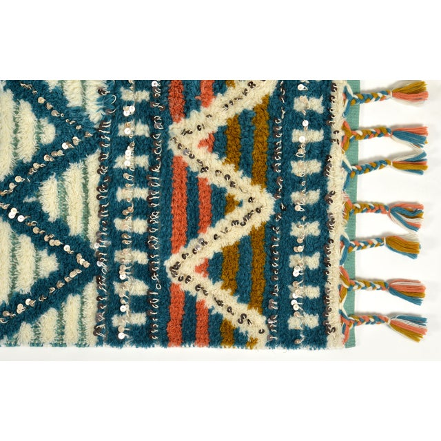 Moroccan Style Wool Sequin Tassel Rug/Wall Hanging - 3' x 5' - Image 3 of 6