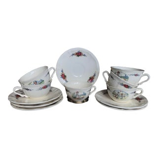 Faience Sarregumines France Obernai Cups & Saucers - Service for 6 For Sale