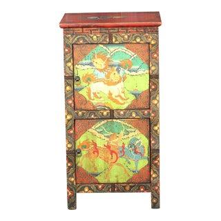 Small Antique Tibetan Cabinet For Sale