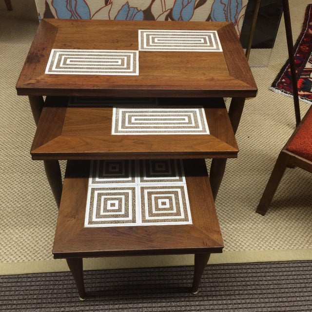 MCM Tile & Walnut Stacking Tables - Image 2 of 9