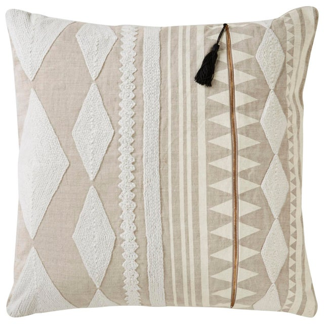 Contemporary Nikki Chu by Jaipur Living Lonyn Beige/ White Geometric Poly Throw Pillow For Sale - Image 3 of 3