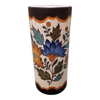 Mid 20th Century Dutch Flora Gouda Plateel Porcelain Cylindrical Vase For Sale