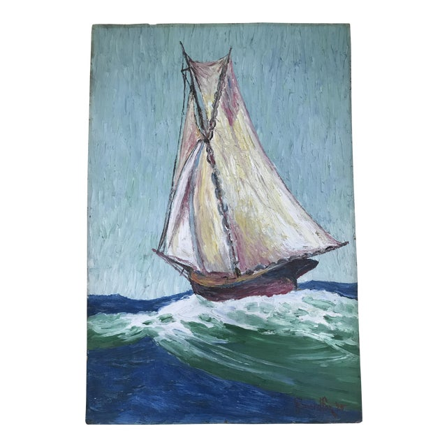 Howard Fox Vintage Sailboat Painting 1925 For Sale