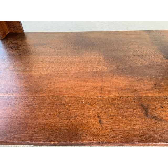 Wood Antique American Craftsman Library/ Work Table, Solid Oak For Sale - Image 7 of 10