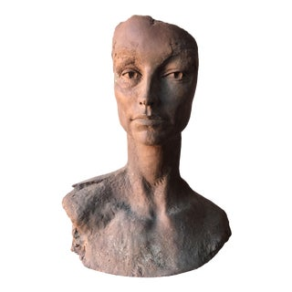 Molded Gray Sculptured Clay Bust Head Fragment
