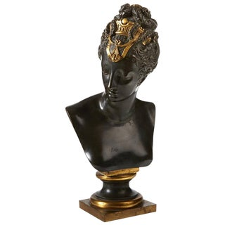 French Patinated and Gilt Bronze Bust, 19th Century For Sale