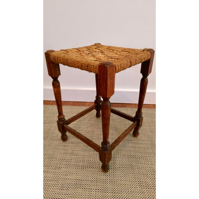 English Traditional 19th-C. Turned Wood & Rope Stool For Sale - Image 3 of 9