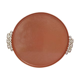 Moire Kyes Mid-Century Enameled Round Tray For Sale