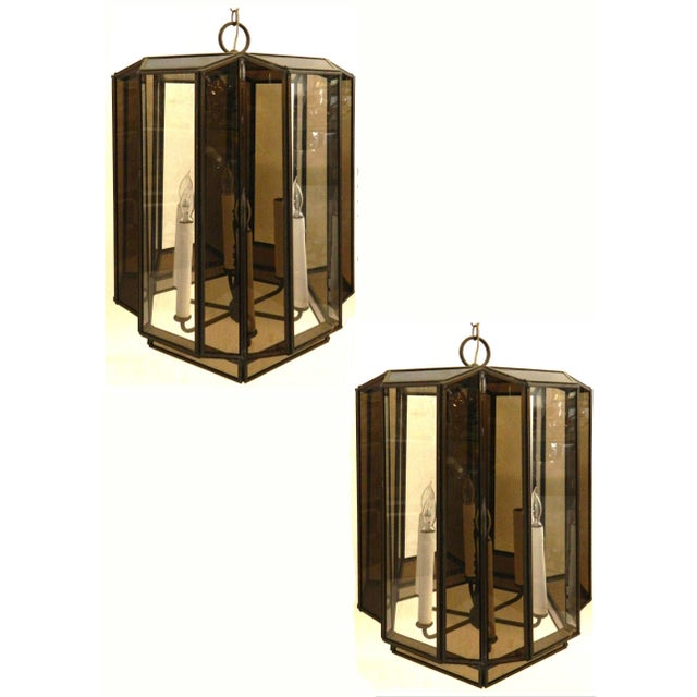 Vintage Brass Hanging Lanterns - Pair For Sale In Miami - Image 6 of 8