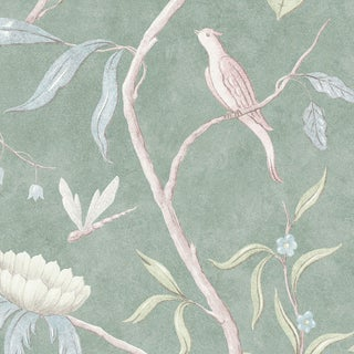 Lewis & Wood Adam's Eden Fresco Ceramic Botanic Style Wallpaper Sample For Sale