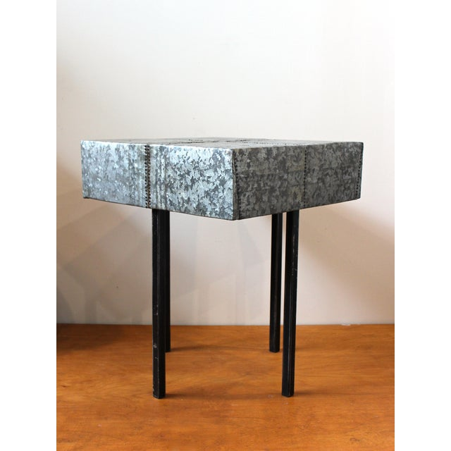 Contemporary Rustic Nail Detail Metal Table For Sale - Image 3 of 6