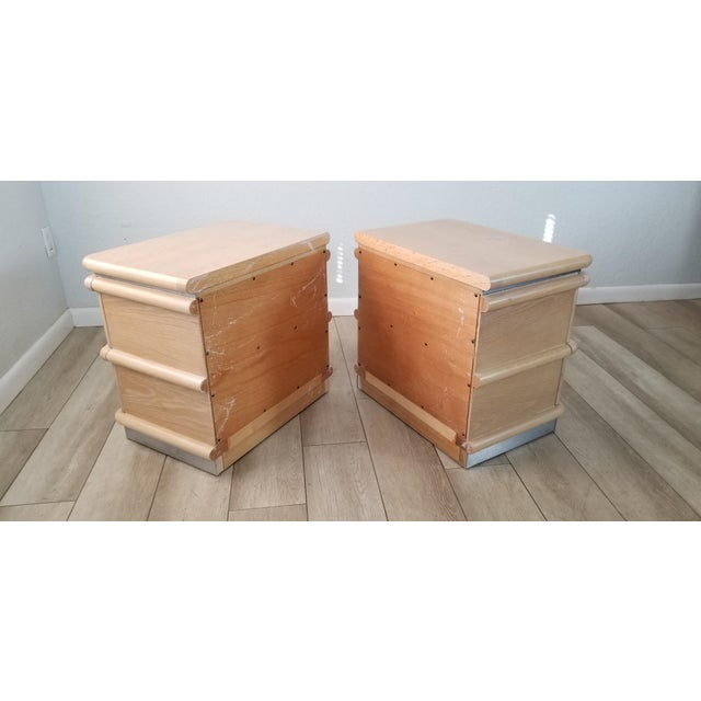 Brown Postmodern Blonde Oak Nightstands by Jay Spectre - Pair. For Sale - Image 8 of 13