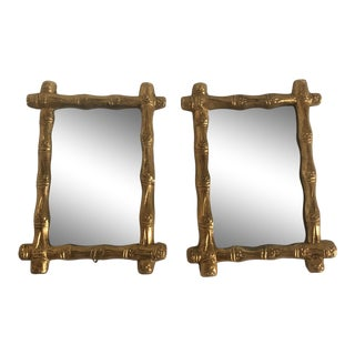 20th Century French Country Florentine Bamboo Mirrors - a Pair For Sale