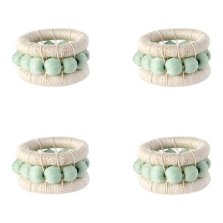 Berry Napkin Rings Cream & Mint - Set of 4 For Sale