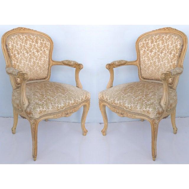 Antique Louis XV Style Provincial Velvet Fauteuil Armchairs- a Pair For Sale - Image 13 of 13