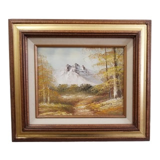 1970s Vintage Autumn Mountain Landscape Oil Painting For Sale