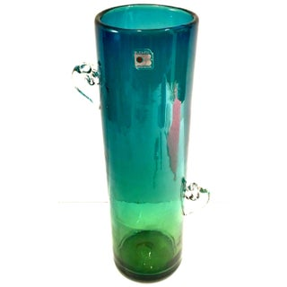 1980's Blenko Organic Modern Blown Glass Blue and Green Clear Handle Vase Preview