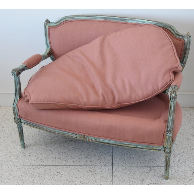 Rose Linen Upholstered Turquoise and Gold Gilt Accented Settee Loveseat For Sale - Image 11 of 13