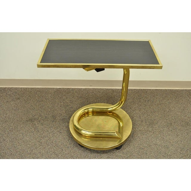 Vintage Paul Tuttle Mid Century Modern Brass Revolving Tray Top Anaconda Side Table For Sale In Philadelphia - Image 6 of 11