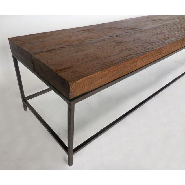 Customizable Reclaimed Wood Modern Clean Line Coffee Table or Bench with Iron Base For Sale In Los Angeles - Image 6 of 9