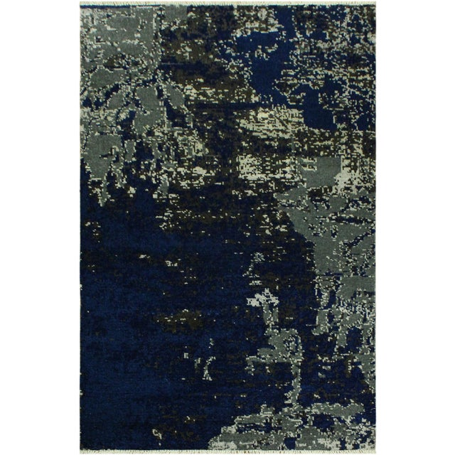 White Abstract Modern Terisa Blue/Ivory Wool&Silk Rug - 4'2 X 6'5 For Sale - Image 8 of 8