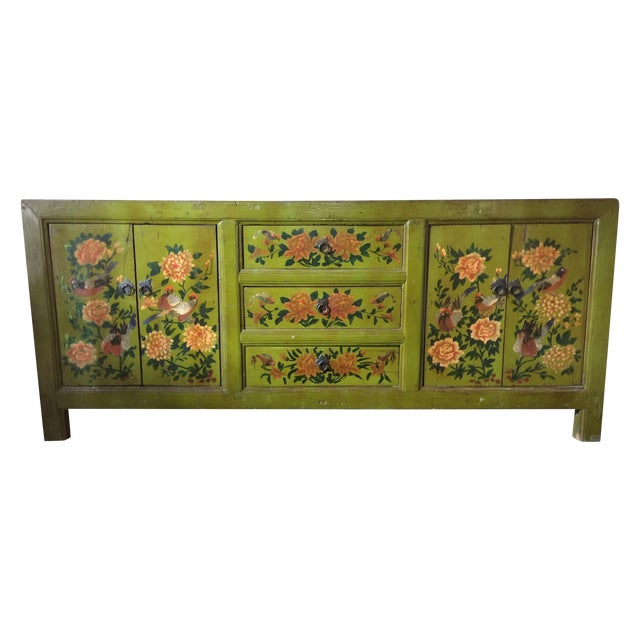 Antique Floral Painted Sideboard Cabinet - Image 1 of 7
