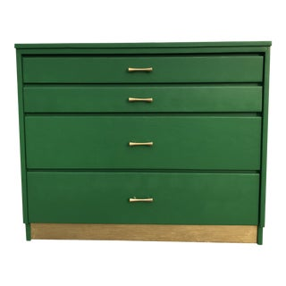 Vintage Emerald & Gold Chest For Sale