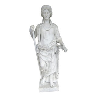 Early 20th Century Antique Over 6 Feet Italian White Marble Goddess Statue For Sale