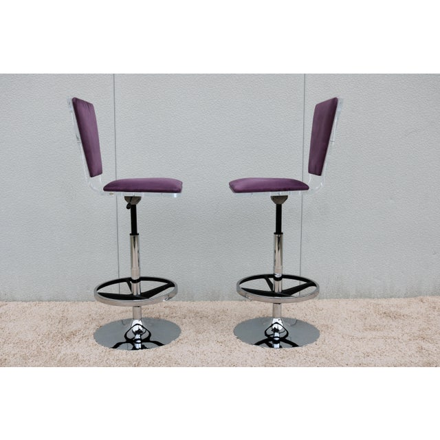 Purple Suede & Acrylic Shlomi Haziza Barstools - A Pair For Sale In New York - Image 6 of 13