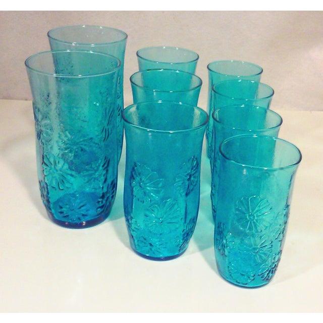 Turquoise Glass Daisy Tumblers - Set of 9 - Image 4 of 5