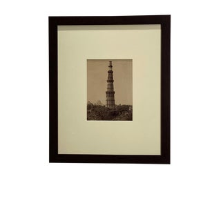 Antique Photograph of Column Quatab Minar, Delhi India For Sale