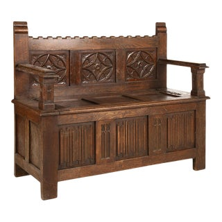 Early 19th Century Belgian Walnut Bench With Storage For Sale