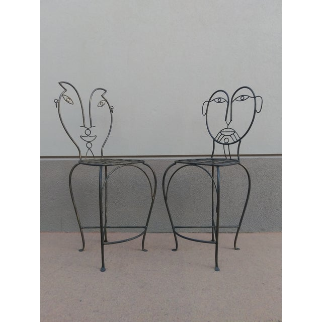 Late 20th Century John Risley Style Sculptural Figural Wrought Iron Bar Stools - a Pair For Sale - Image 5 of 13