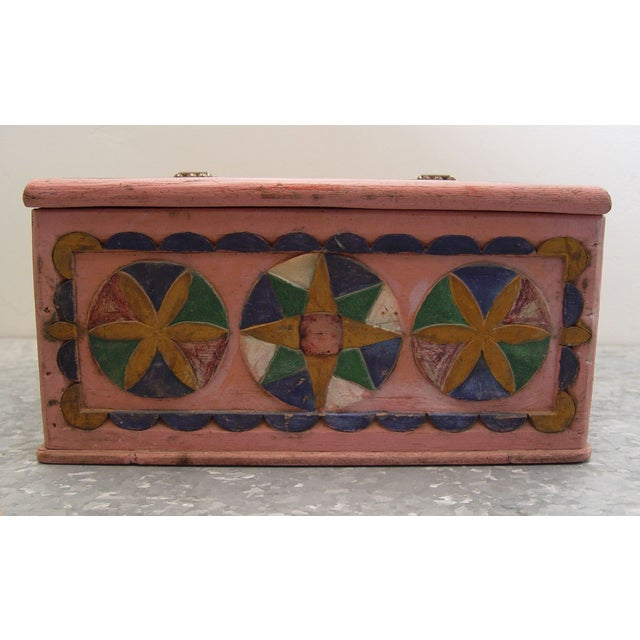 1936 Folk Art Carved and Painted Box - Image 4 of 7