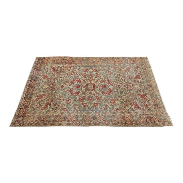 Antique Turkish Oushak Hand Knotted Rug - 4'8 X 7' For Sale