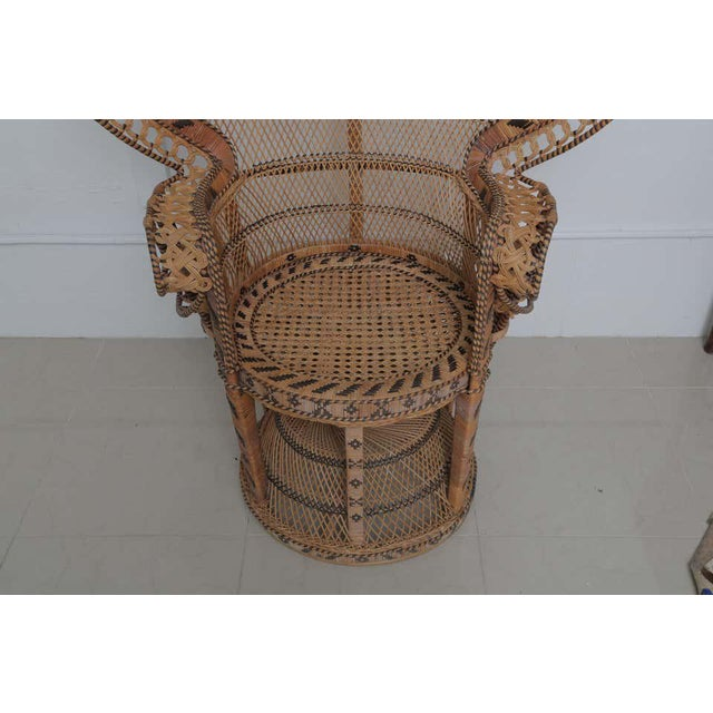 BOBO Superb Pair of Peacock Vintage Rattan Chairs For Sale - Image 4 of 6