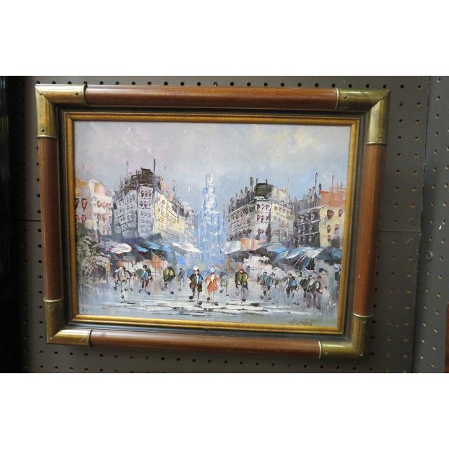 1990s 1990s Impressionist Inspired French Street Scene Oil Painting For Sale - Image 5 of 5