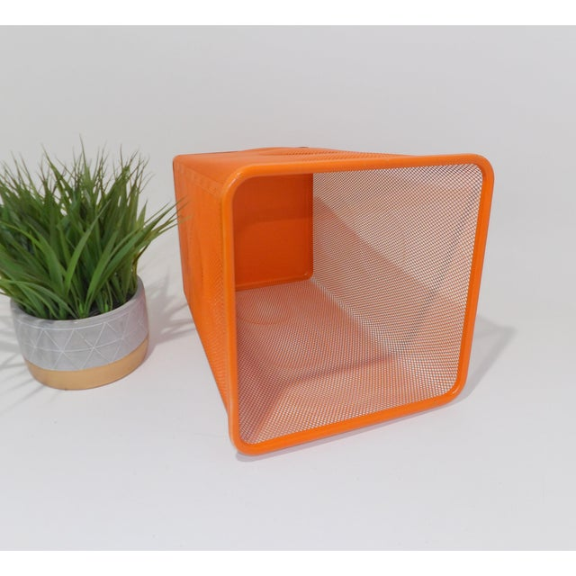 Mid Century Modern Orange Metal Wire Trash Can For Sale - Image 4 of 8