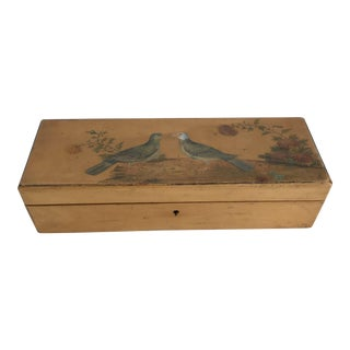 Hand Painted Birds & Flowers Wooden Glove Jewelry Box