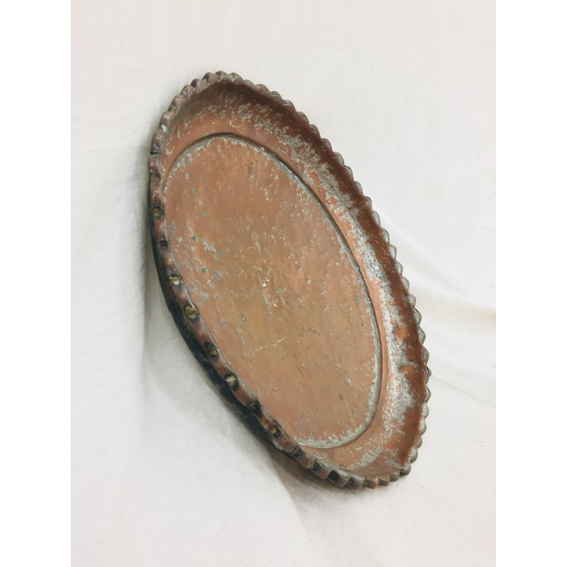 Americana Antique Turkish Pounded Copper Platter For Sale - Image 3 of 8