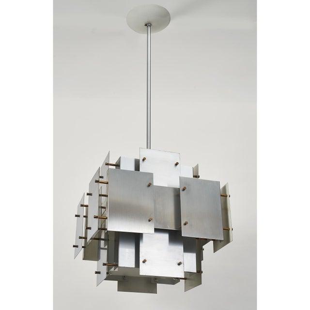 Metal Satin Steel Floating Panel Chandelier by Robert Sonneman For Sale - Image 7 of 11