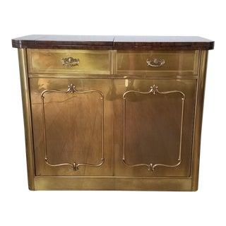 Mastercraft Brass Rolling Bar Cart - Cabinet . For Sale