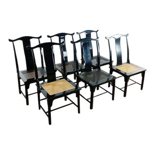 Ming Imperial Style Black Lacquer Dining Chairs - Set of 6 For Sale
