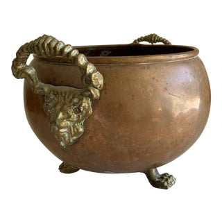 Vintage Copper & Brass Lion Plant Vessel For Sale