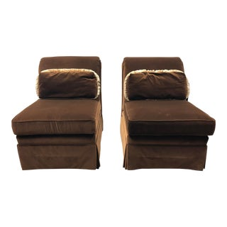 Contemporary Brunschwig and Fils for Thomasville Chocolate Velvet Slipper Chairs - a Pair For Sale