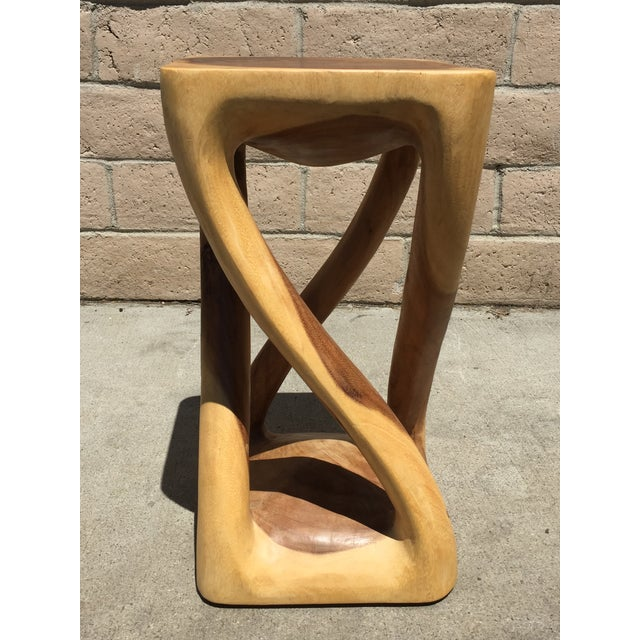 Asian Style Abstract Asian Four Legged Twist Acacia Wood Low Stool For Sale - Image 4 of 4
