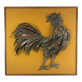 20th Century Country Mounted Metal Rooster Wall Sculpture For Sale