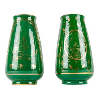 Vintage Italian Green Porcelain Decorative Vases - a Pair For Sale