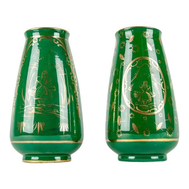 Vintage Italian Green Porcelain Decorative Vases - a Pair For Sale