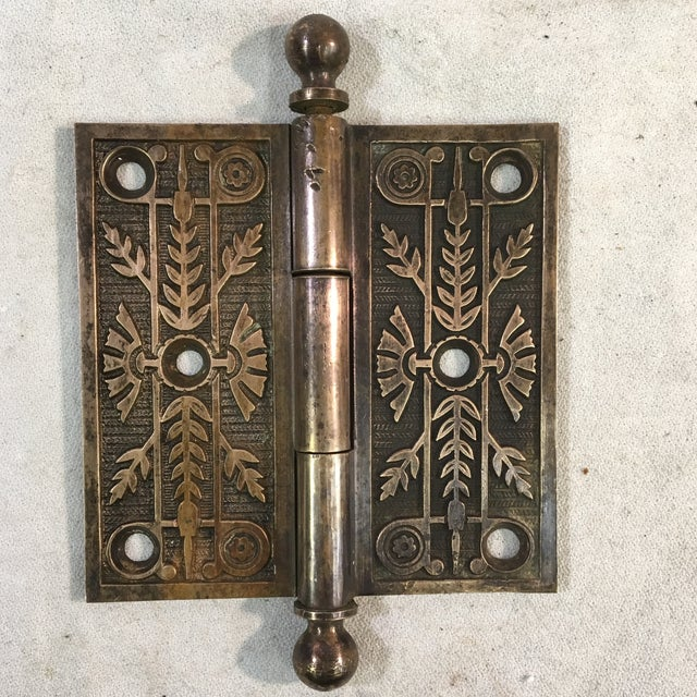 Brass Antique Victorian Eastlake Brass Door Hinge For Sale - Image 8 of 11